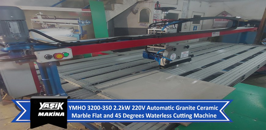 YMHO 3200-350 2.2kW 220V Automatic Granite Ceramic Marble Flat and 45 Degrees Waterless Cutting Mach
