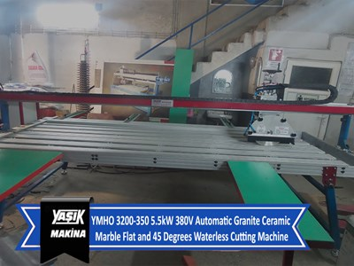 YMHO 3200-350 5.5kW 380V Automatic Granite Ceramic Marble Flat and 45 Degrees Waterless Cutting Mach